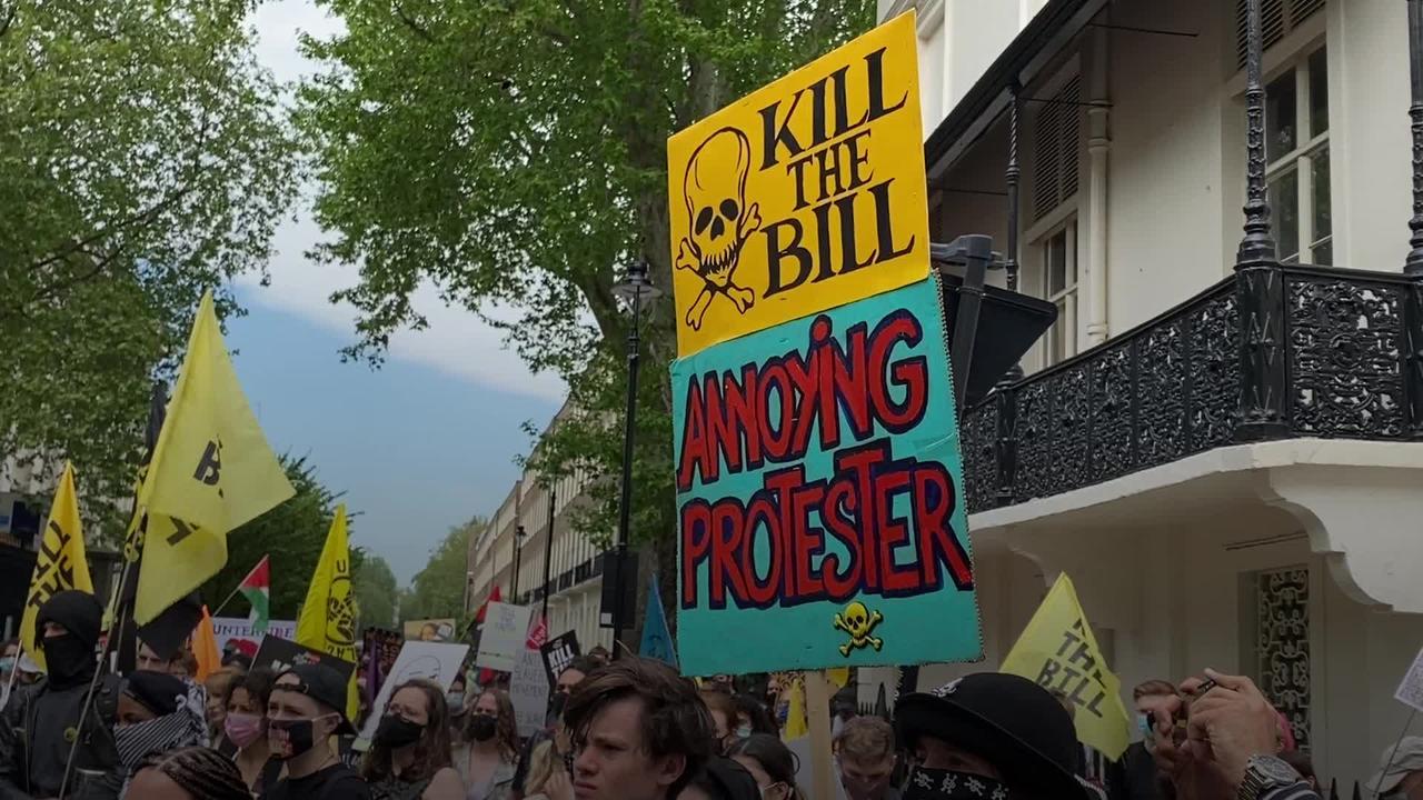 Kill The Bill protesters gather in central London