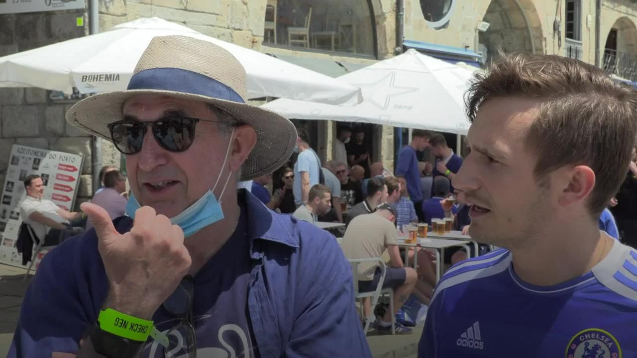 Chelsea and Man City fans gather in Porto ahead of Champions League final