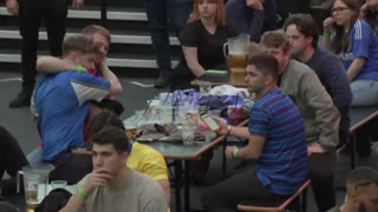 Chelsea fans celebrate Havertz opener