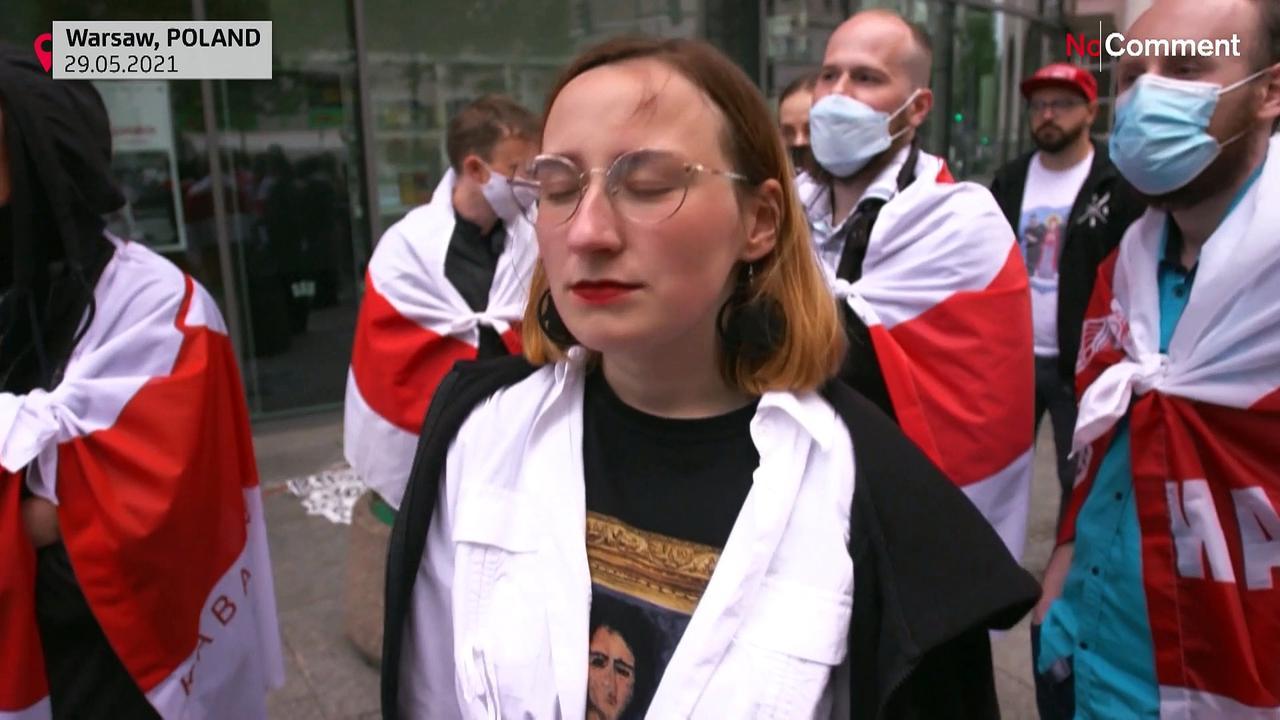 Belarusians protest outside EU representation office in Warsaw against arrest of journalist