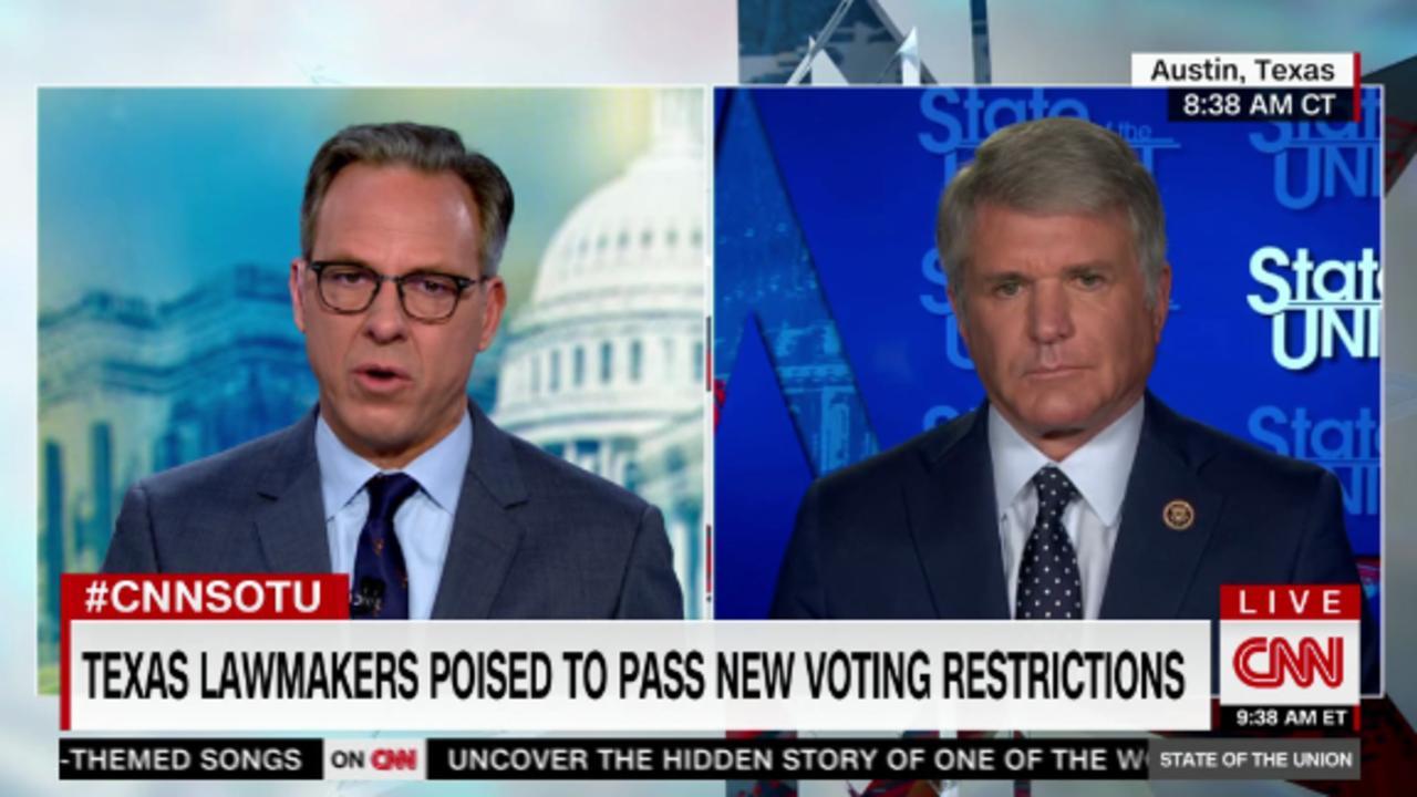 Tapper presses GOP lawmaker on TX voting restrictions