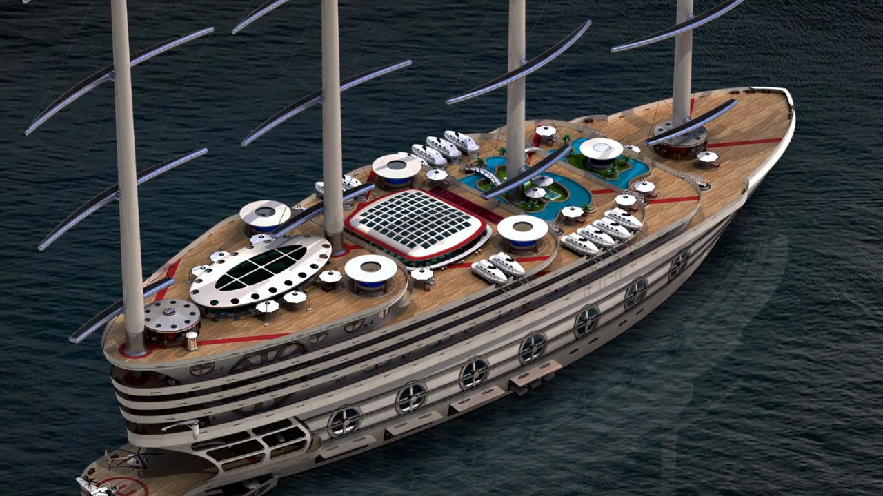 Futuristic 520ft Gigayacht Concept Is A 21st-Century Galleon With A Fun Side