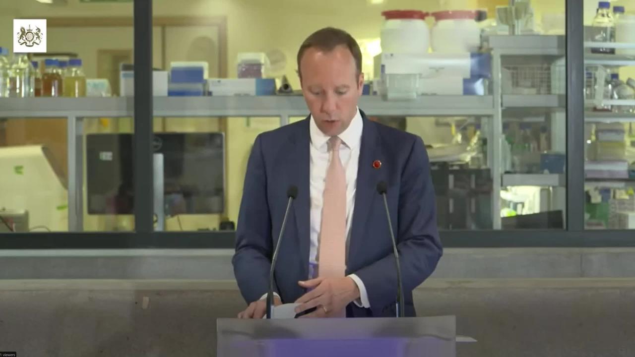 Matt Hancock: 75% of UK adults have had first Covid-19 jab
