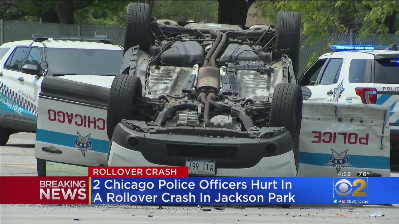 2 Chicago Police Officers Hurt In Jackson Park Rollover Crash