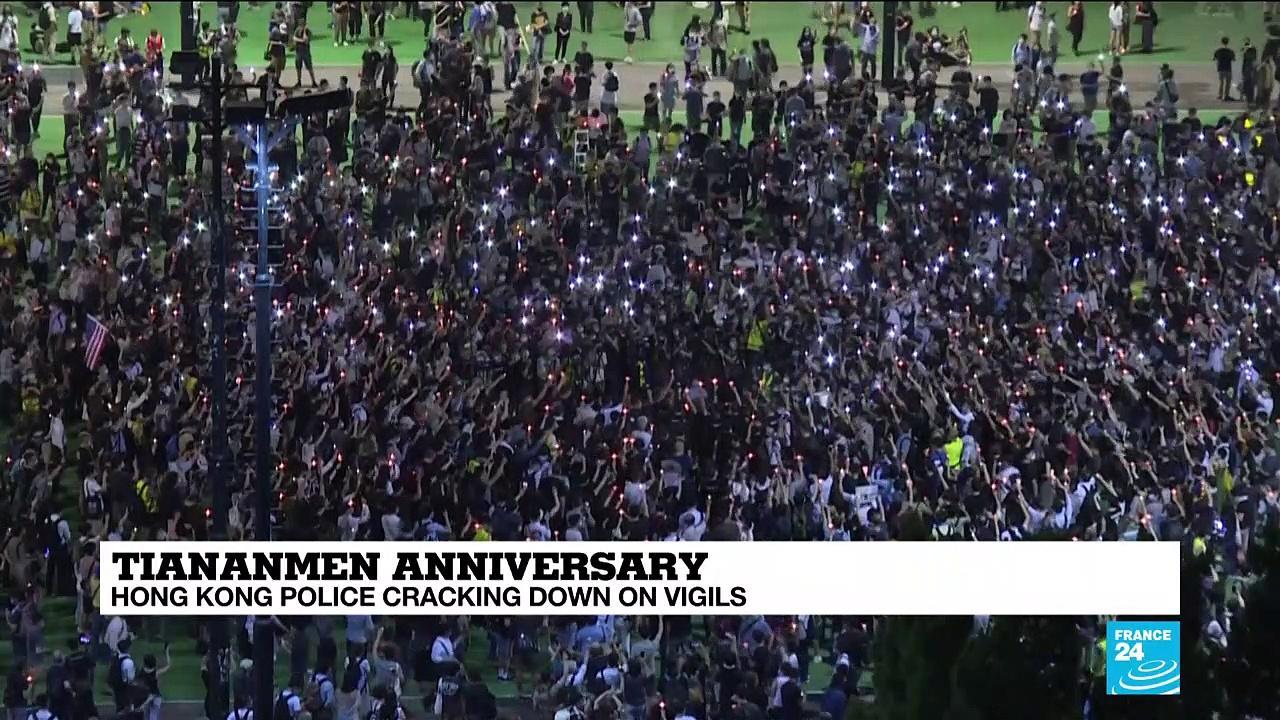 Hong Kong locks down Tiananmen vigil park amid tight security