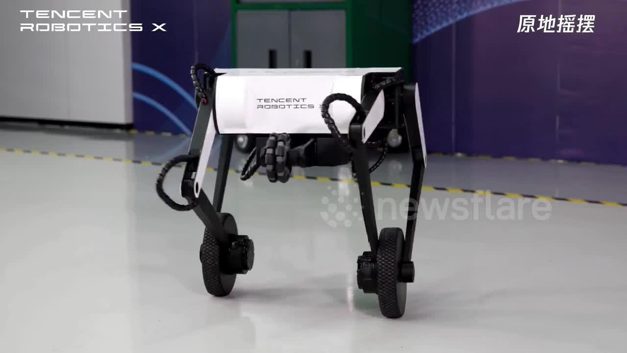 Chinese tech company unveils wheel-legged robot that can jump and do flips