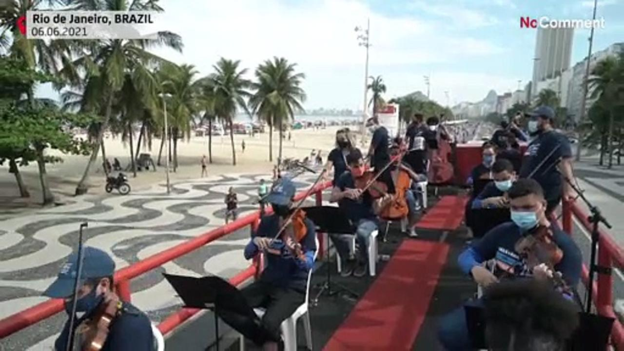 Mobile orchestra from favela plays throughout Rio