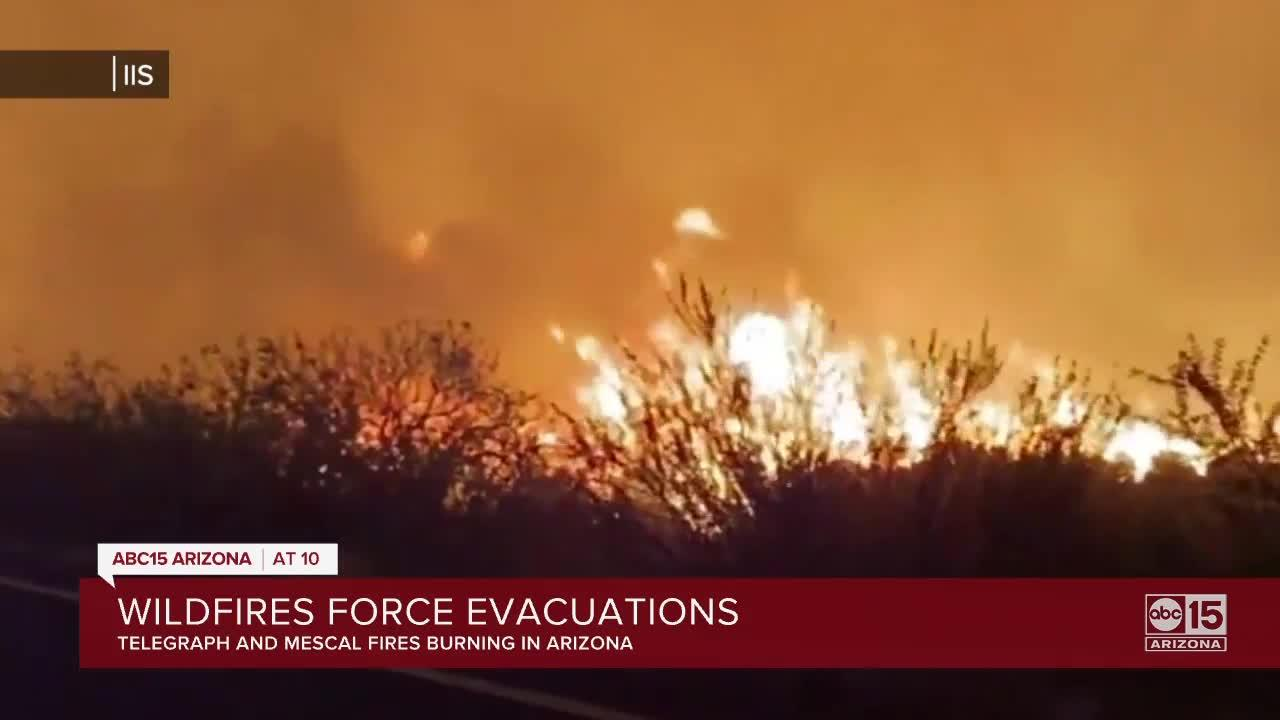 Telegraph and Mescal fires force evacuations in Arizona