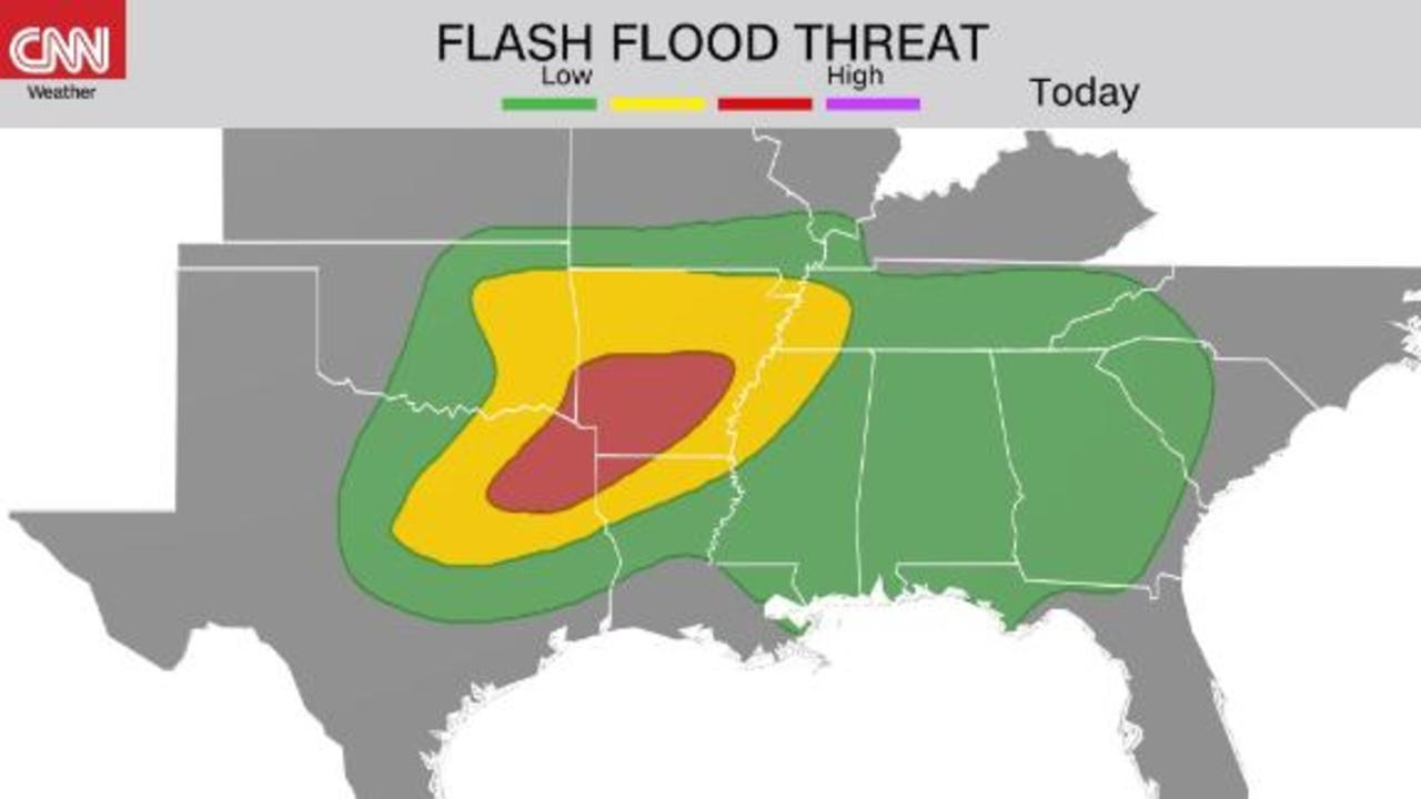 Flash flood risk shifts towards the Midsouth