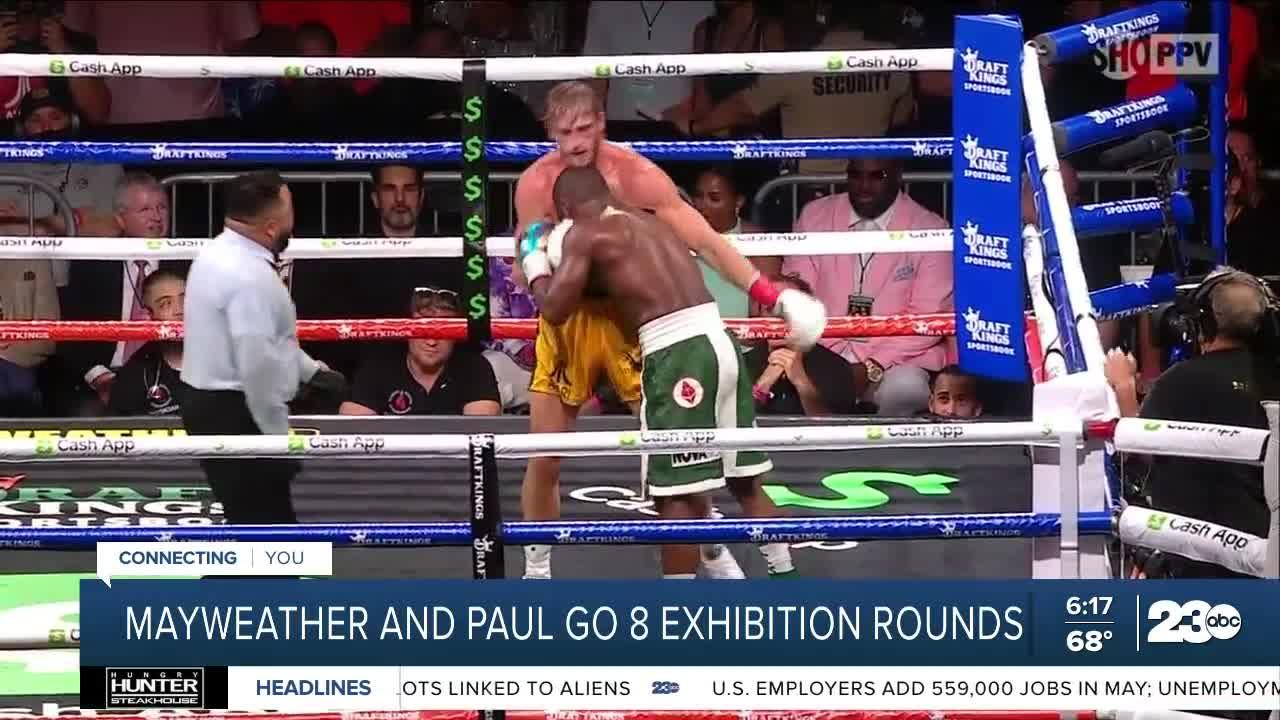 Mayweather and Paul go 8 exhibition rounds