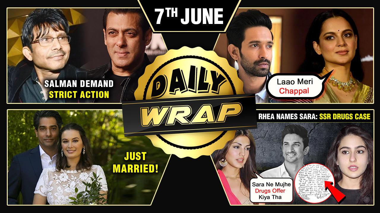 Salman Demands Action Against KRK, Kangana Calls Vikrant 'Cockroach', Rhea Accuses Sara  Top 10 News