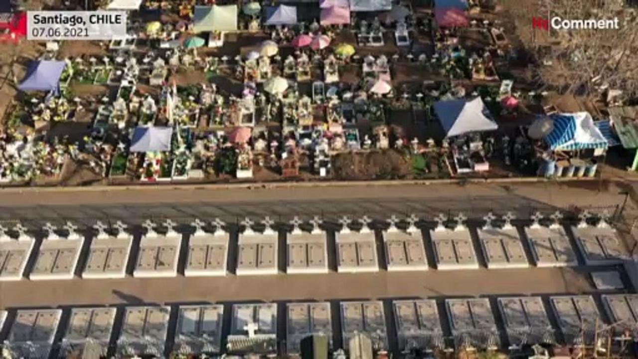 Aerial images of the Santiago General Cemetery as Chile virus deaths rise