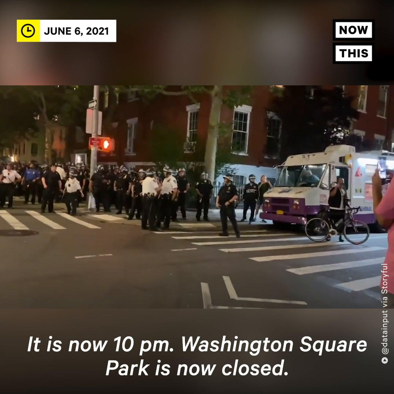 NYPD Officers in Riot Gear Enforce Curfew in Washington Square Park