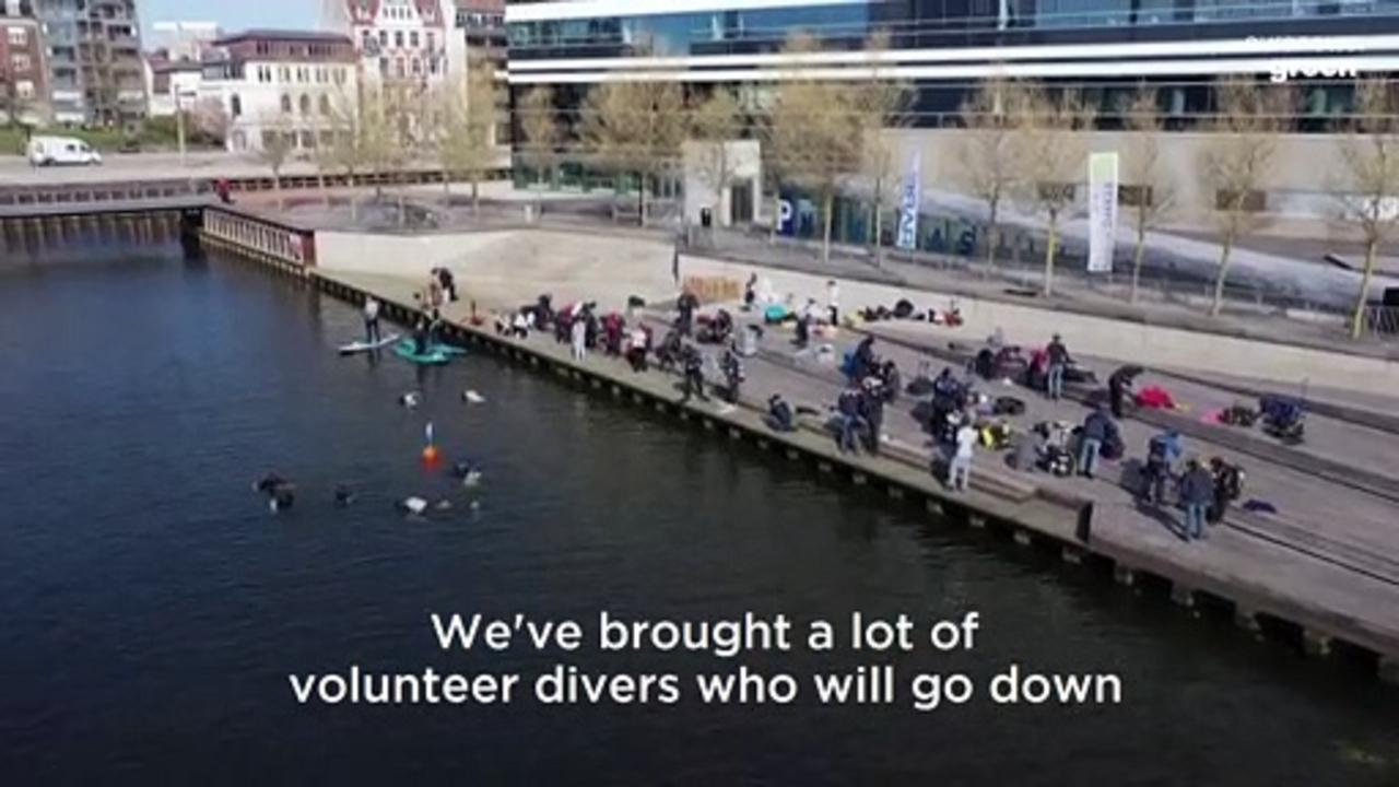 Danish students rescue shopping trolleys from under the sea in mass clean-up