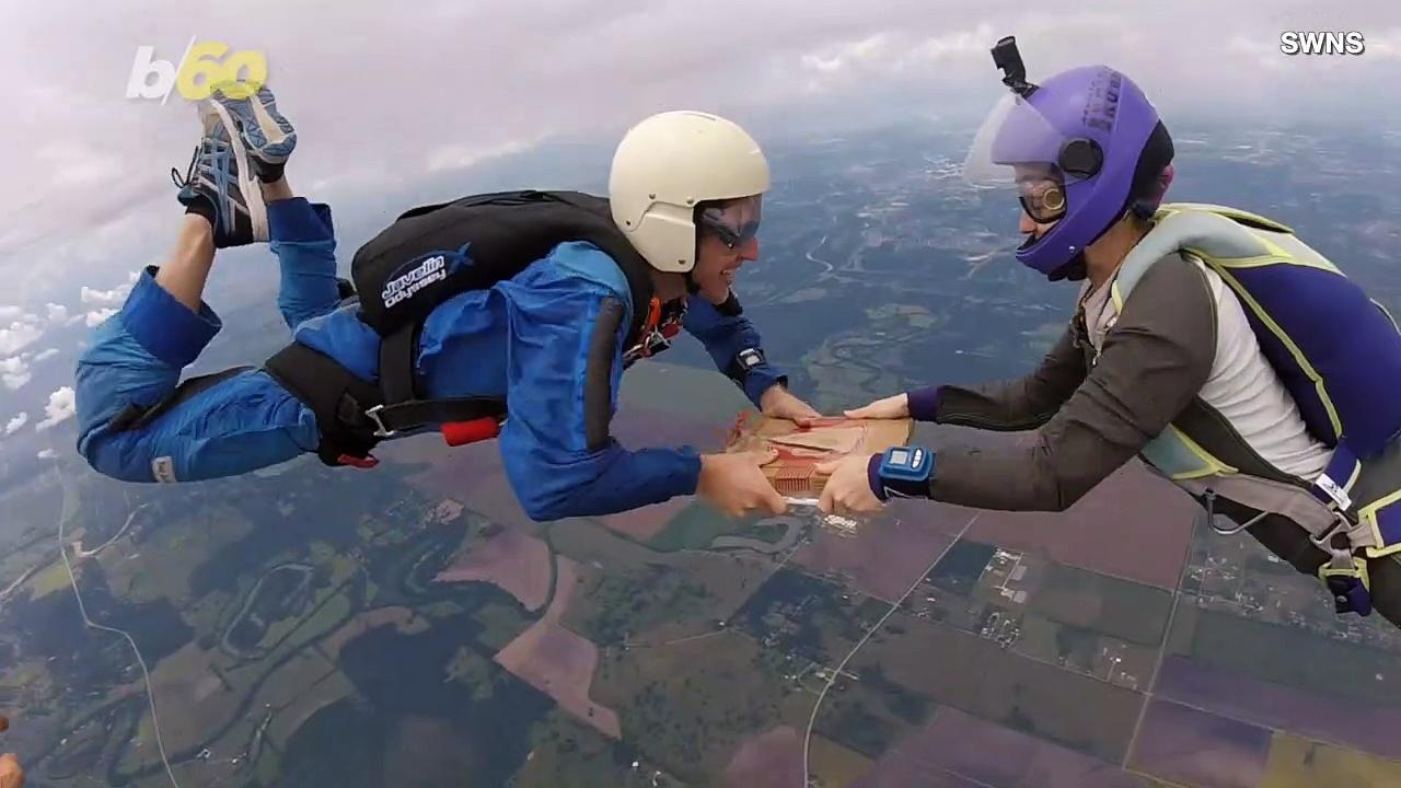 Skydivers Devour a Pizza While Free Falling 14,000 Feet