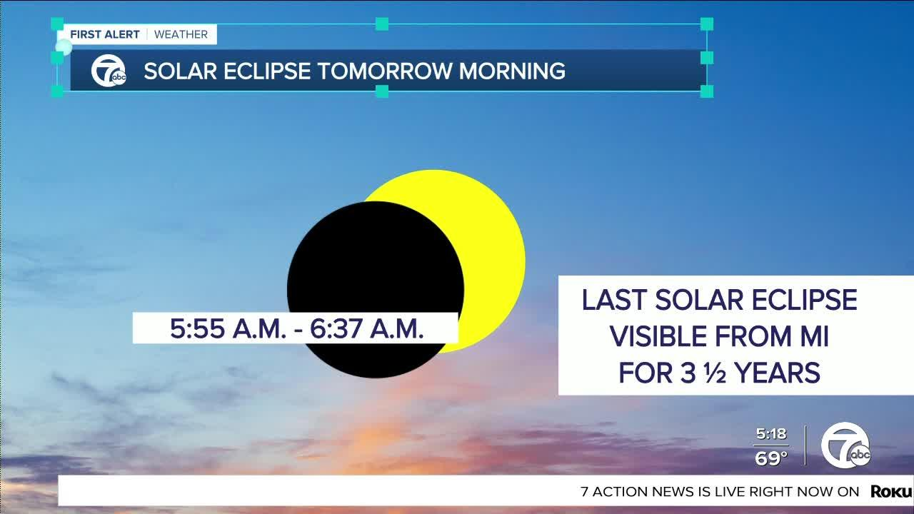 Solar eclipse visible in metro Detroit early Thursday morning