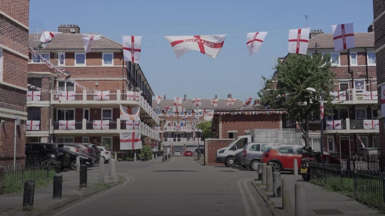 England flags get London housing estate into Euro 2020 spirit