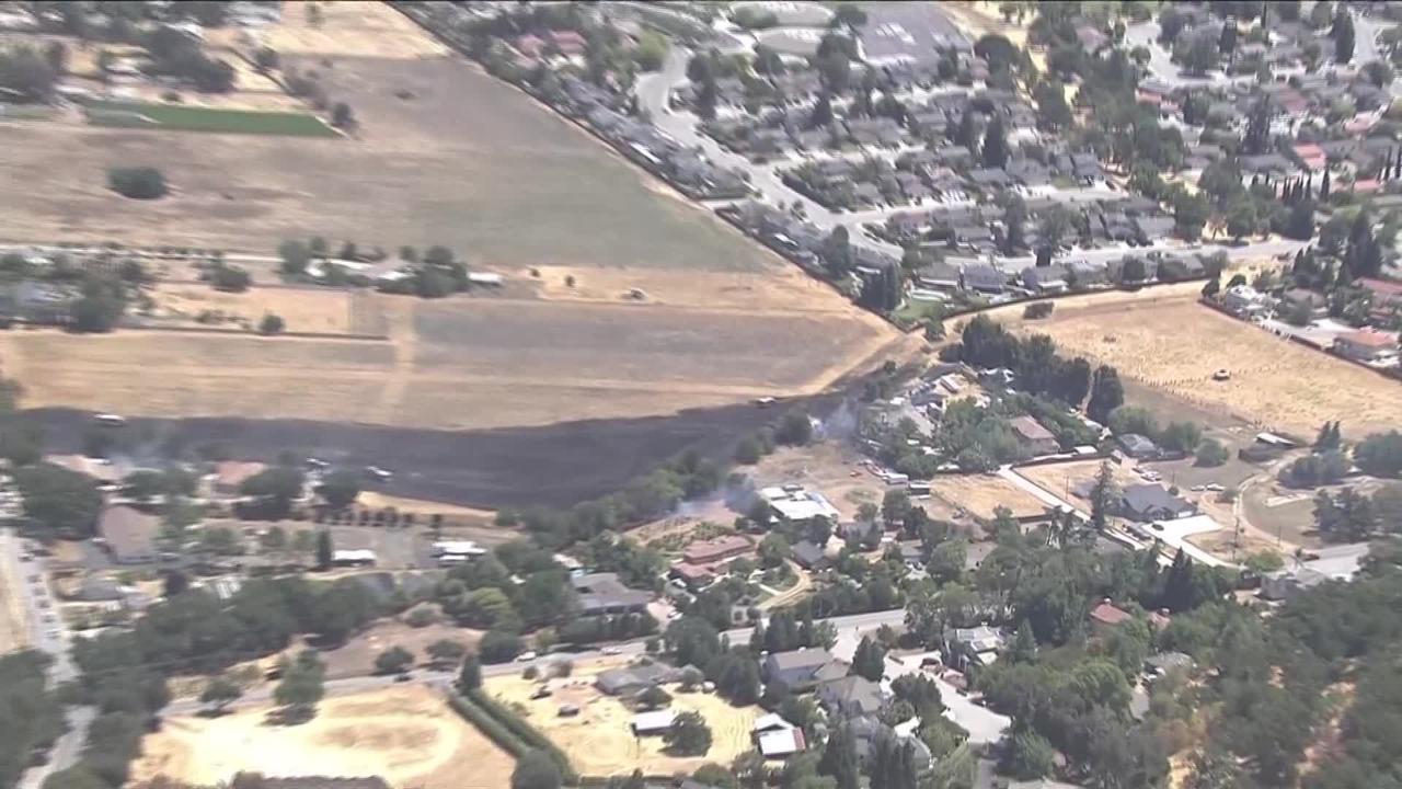 Raw Video: Morgan Hill Vegetation Fire Burns At Least 10 Acres