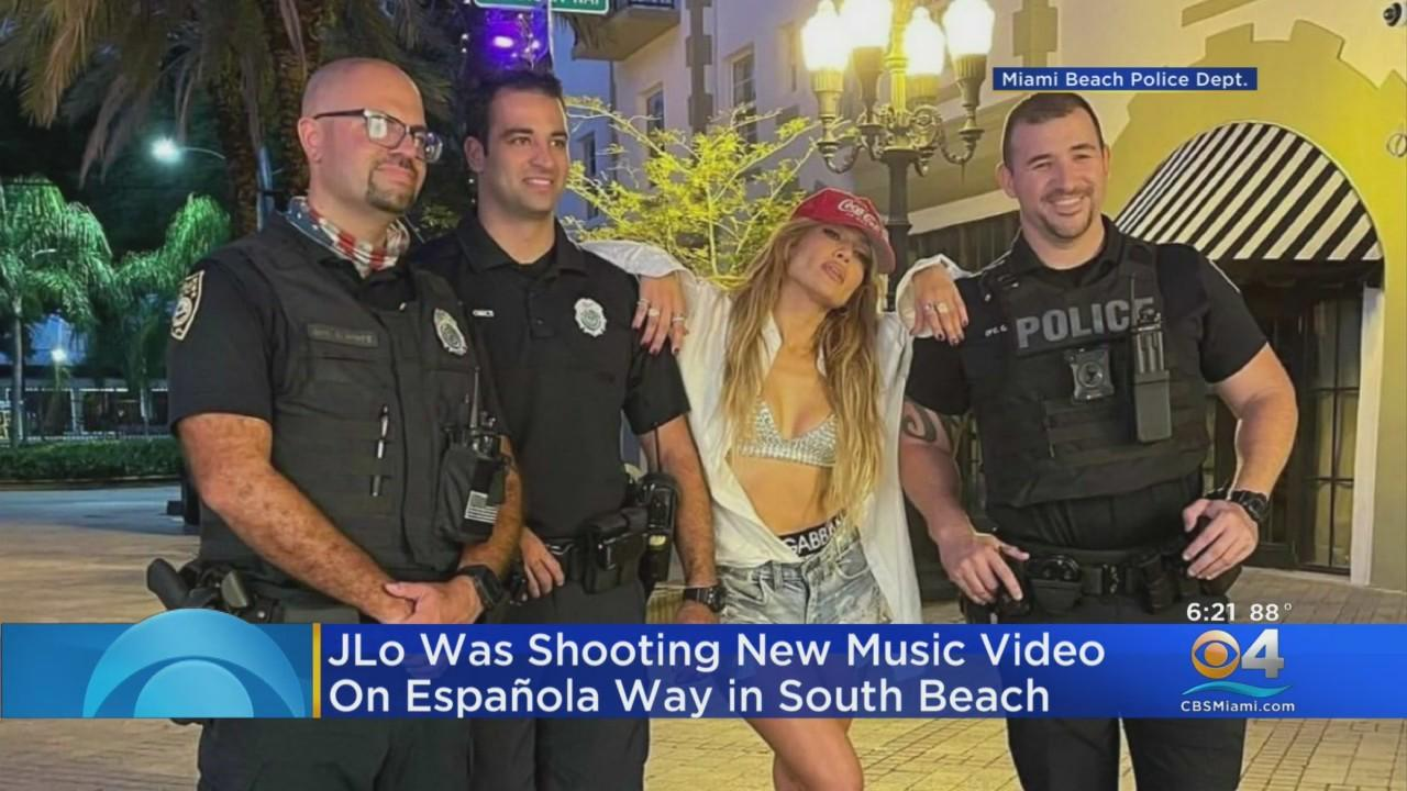 Jennifer Lopez Takes Time To Take Photo With Police While Filming Latest Music Video In Miami Beach