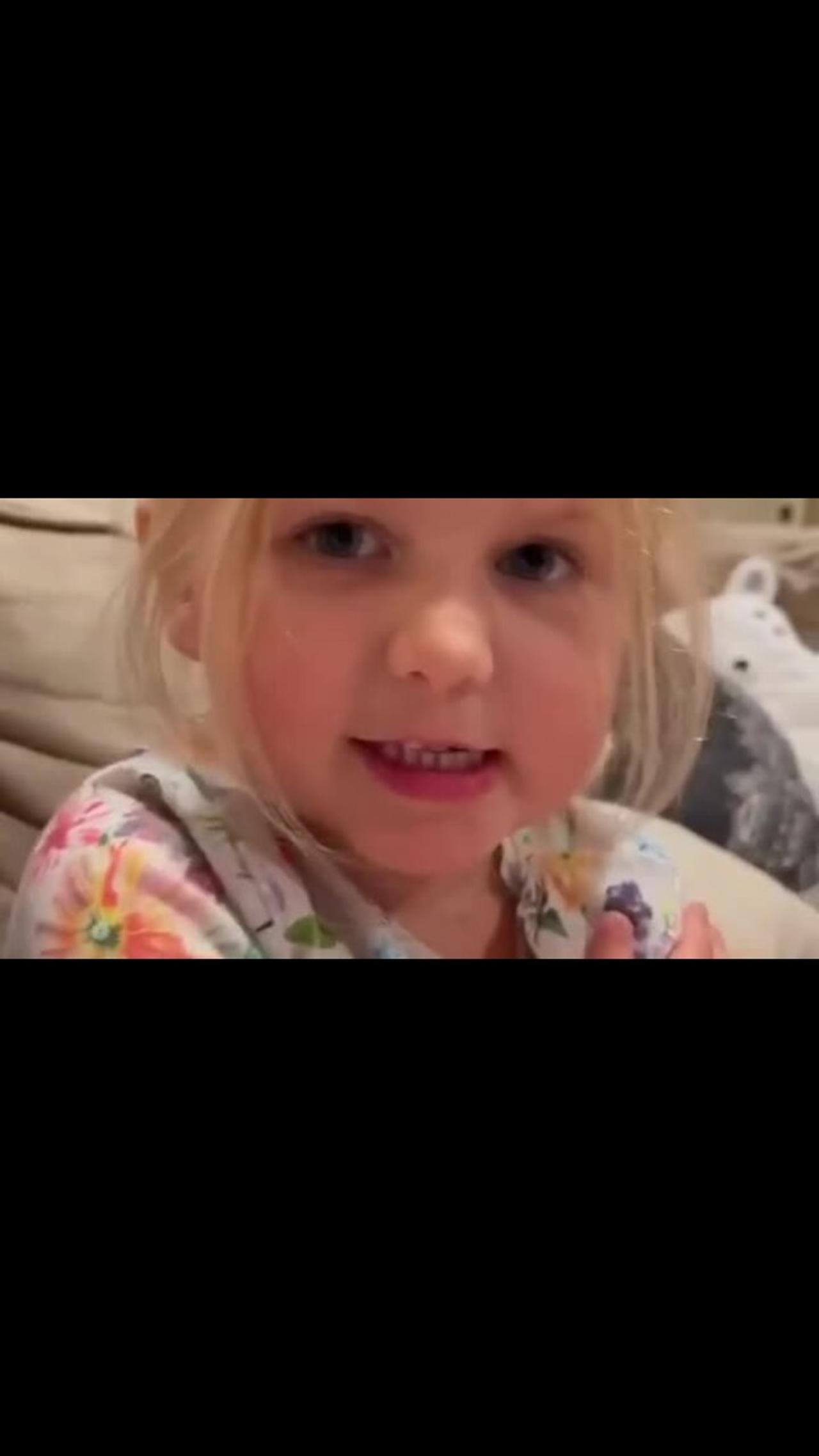 Polite little girl doesn't want to say bad words on camera