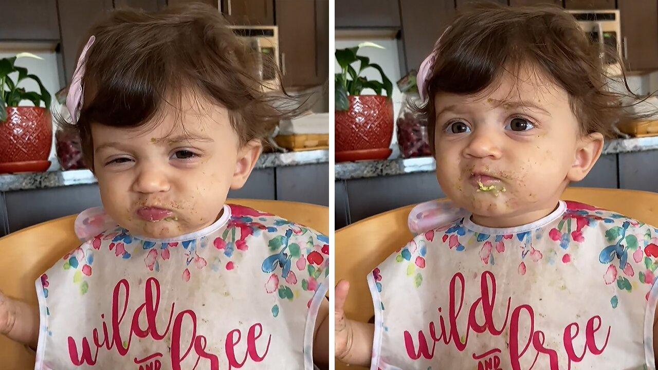 Baby girl dislikes avocado, throws adorable mini tantrum