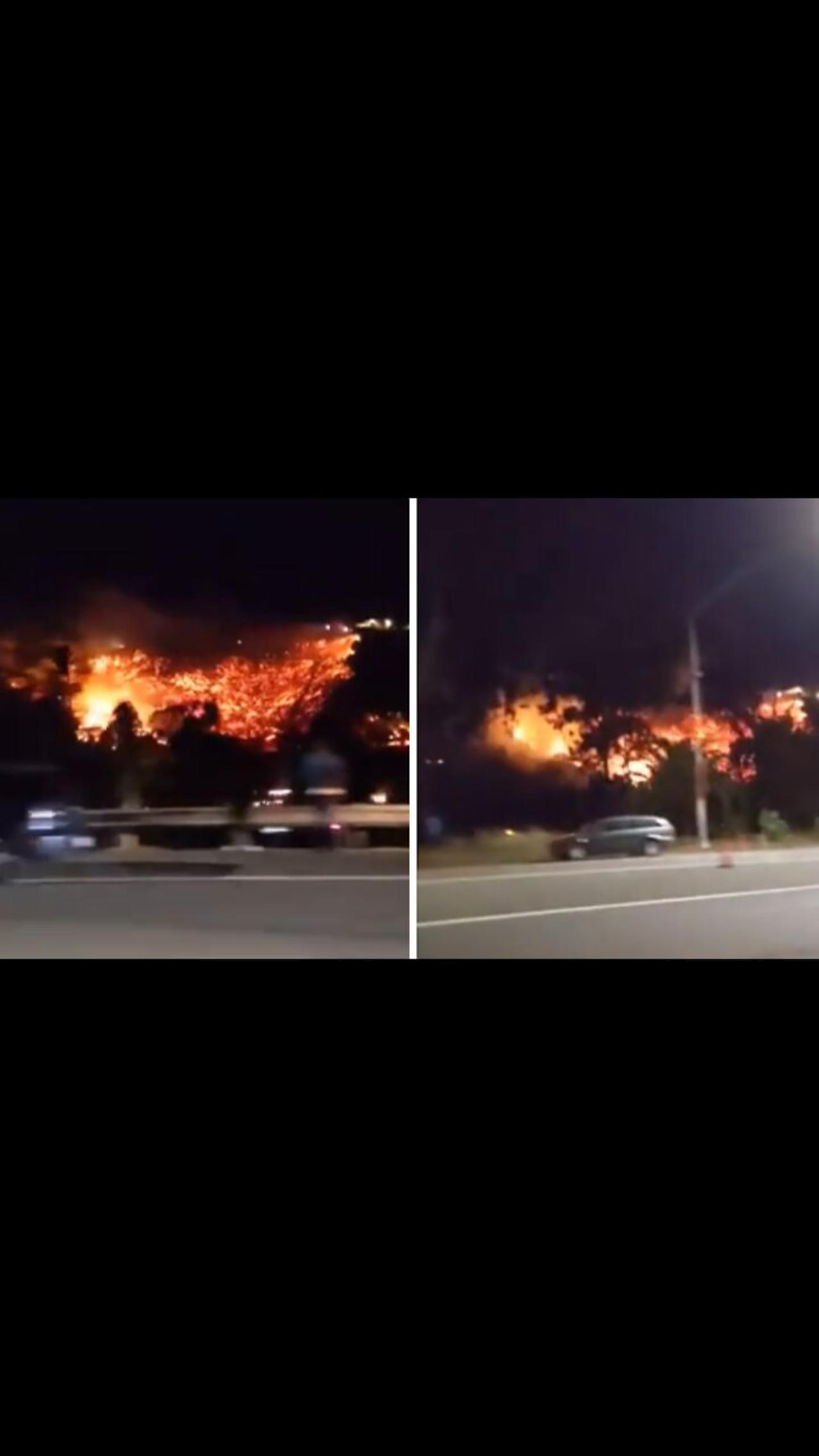 Raging wildfire in Santa Barbara captured on camera