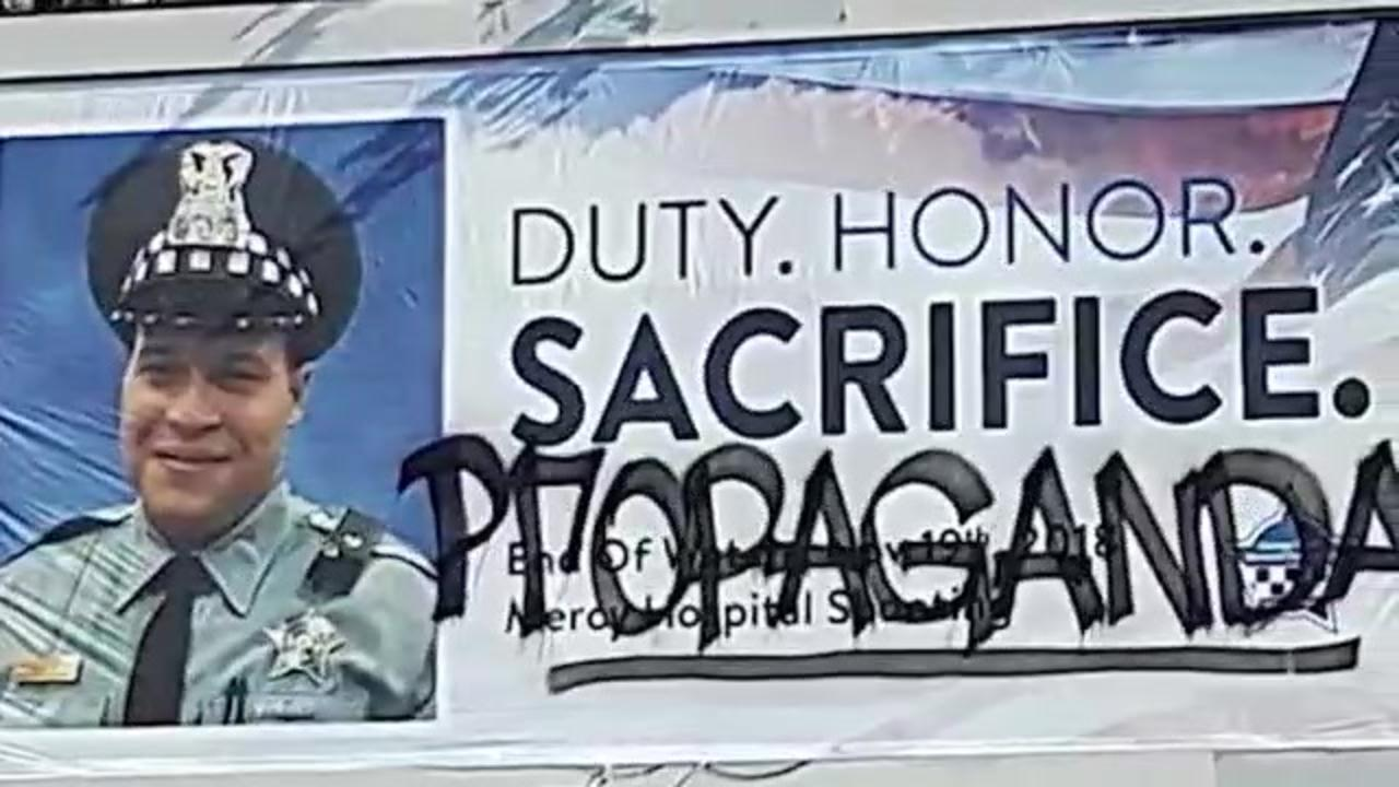 'It's despicable': Vandals deface billboards honoring fallen Chicago Police officers