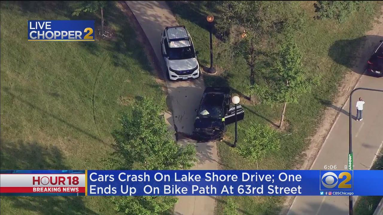 4 Vehicles Crash On Lake Shore Drive In Jackson Park, One Ends Up On Bike Path
