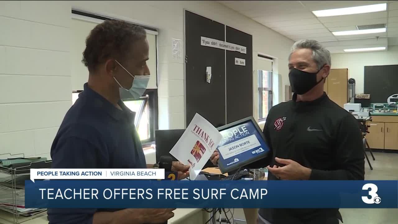 Teacher offers free surf camp