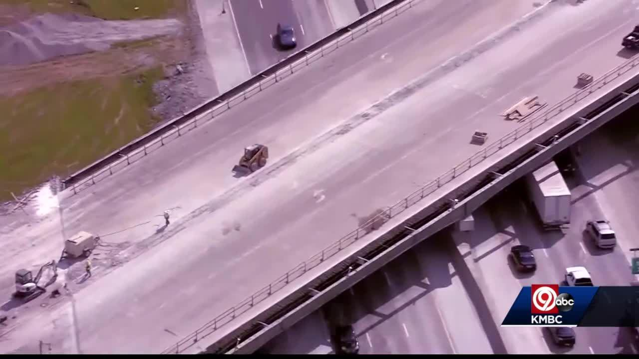 Construction paused on 119th Street bridge at I-35 in Olathe after reports of falling debris