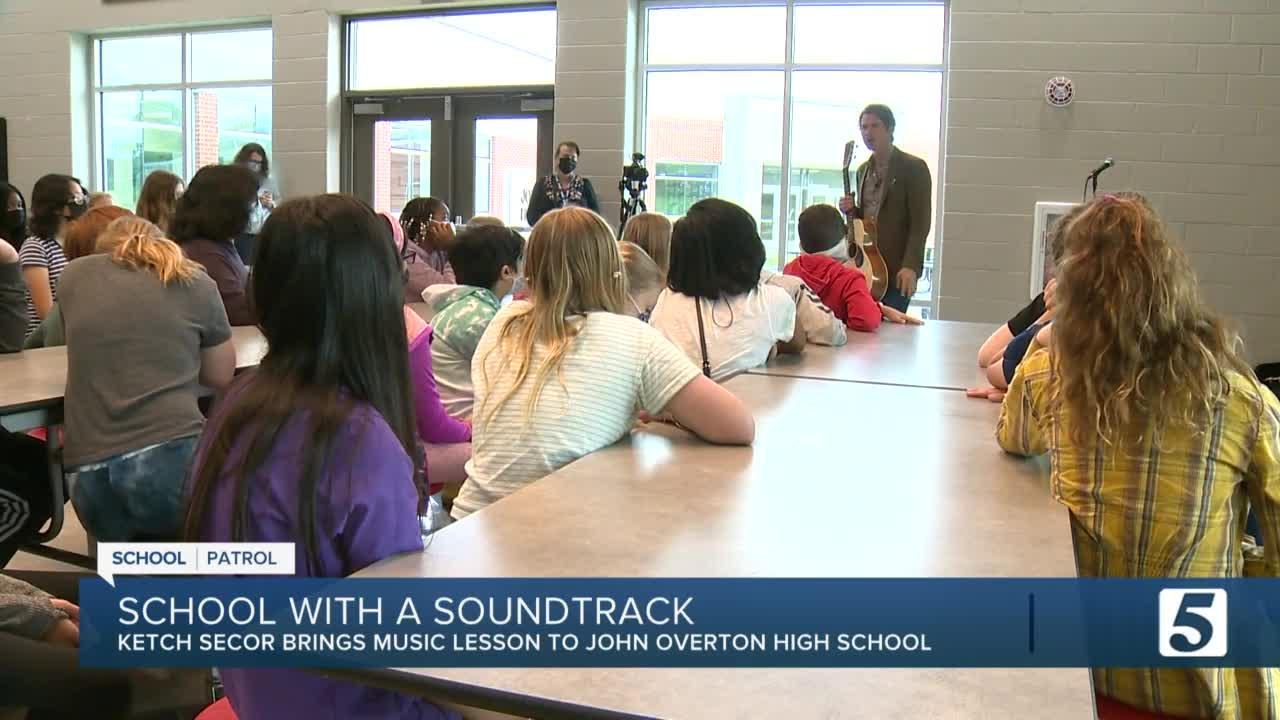 School Patrol: Ketch Secor speaks to John Overton High students