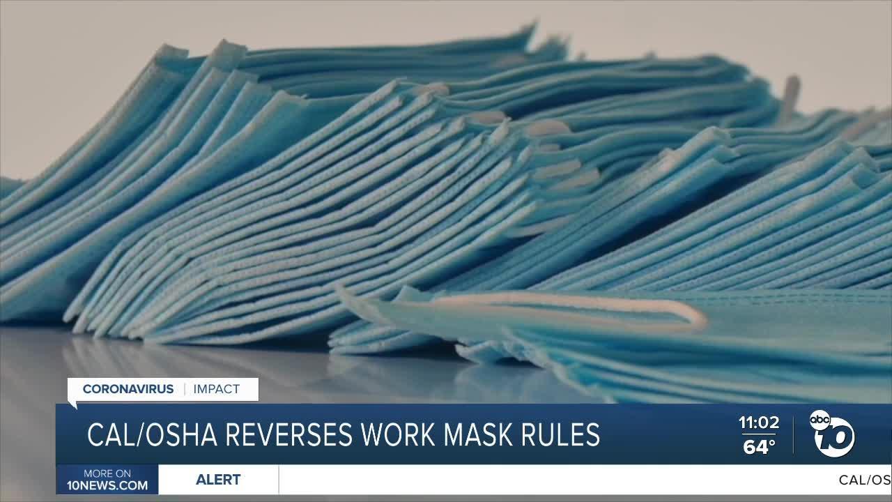 CAL/OSHA reverses work mask rules