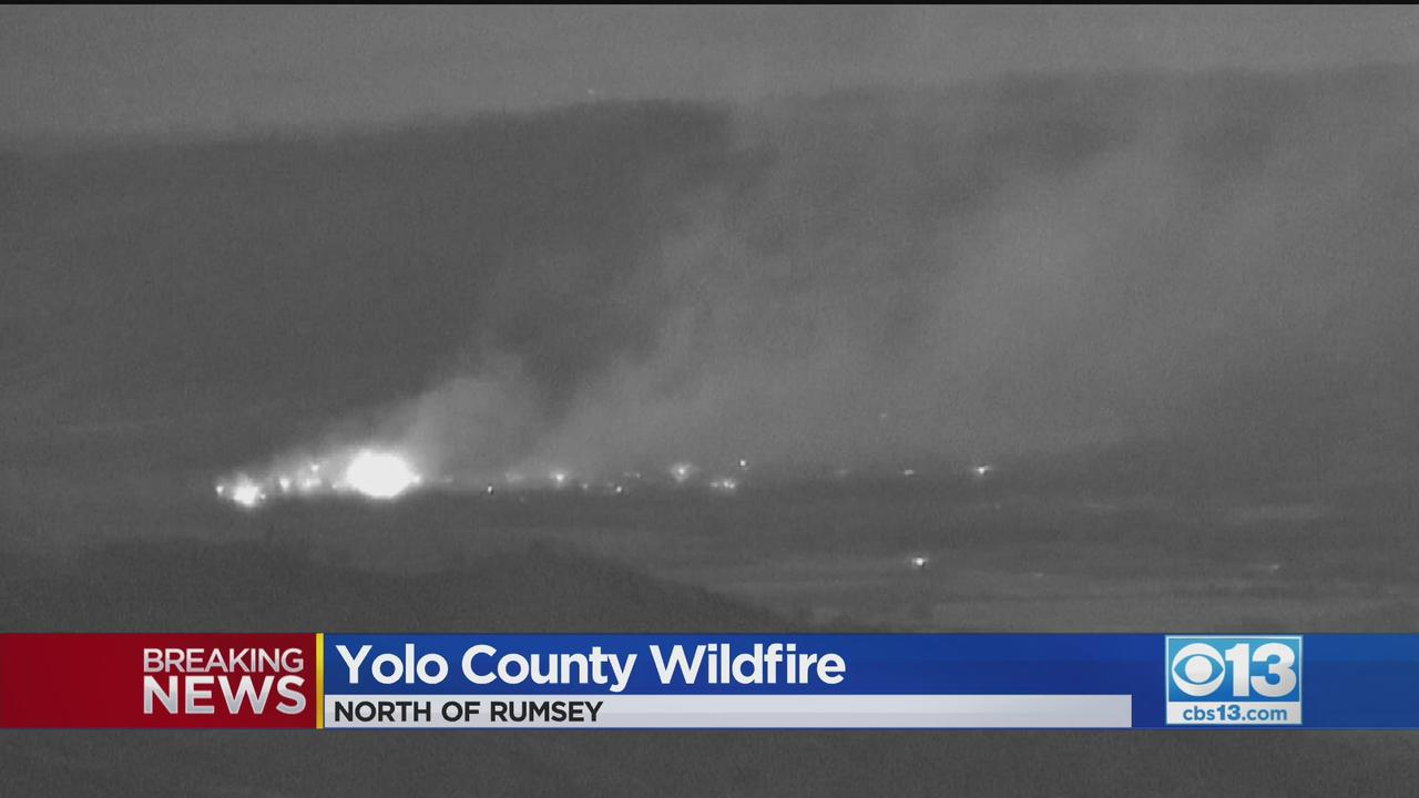 Fire Burning Off Highway 16 Near Rumsey In Yolo County