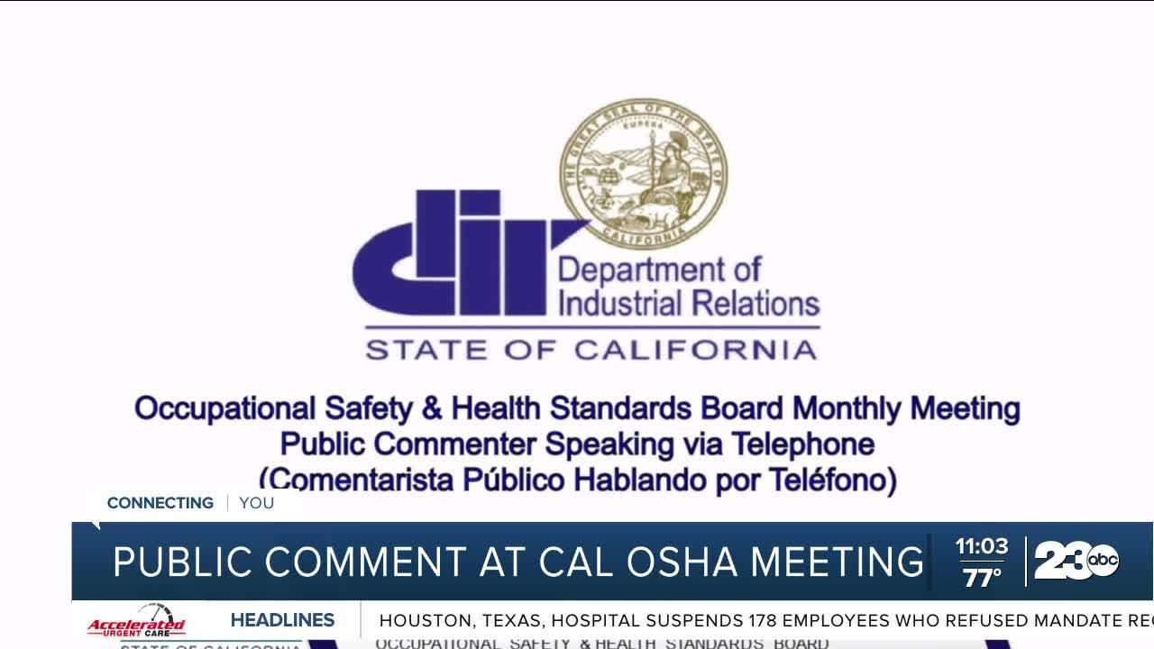 Public concern from Cal Osha special meeting regarding mask mandates