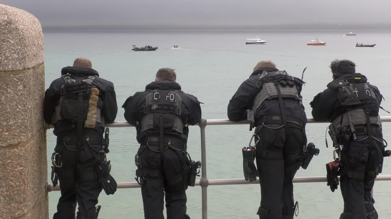 Counter-terrorism police patrol St Ives, Cornwall, as Biden and Johnson meet for talks prior to G7