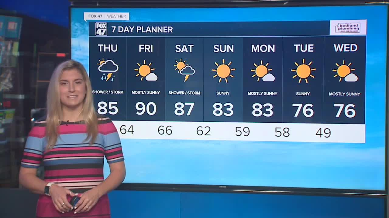 Hot and humid with scattered showers and storms