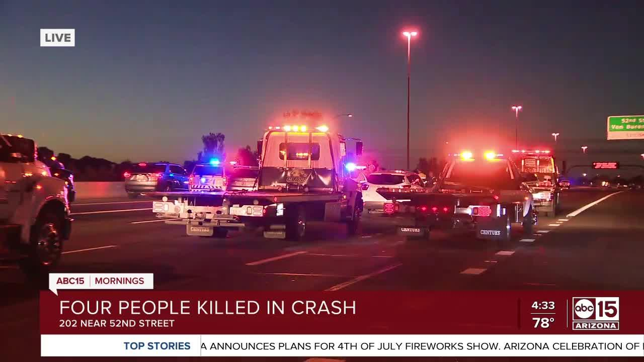 4 killed, 9 others hurt in crash along Loop 202 near 52nd Street