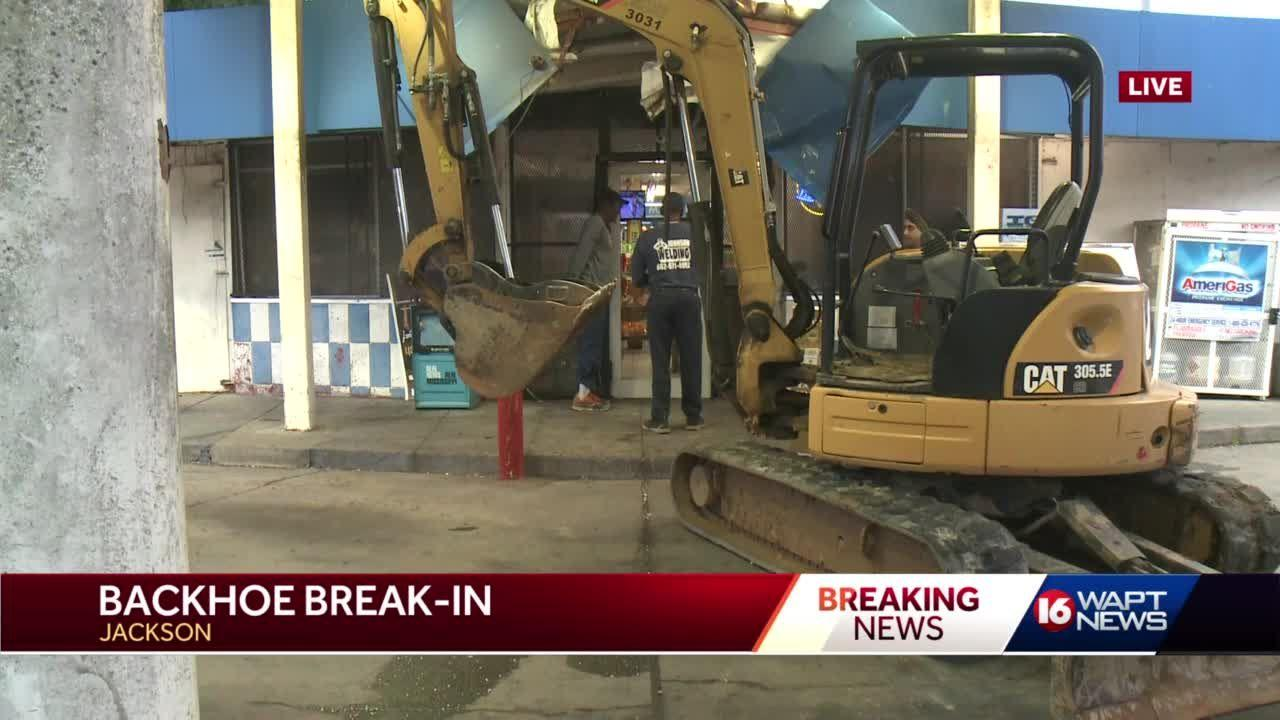 Thieves use backhoe to break into store