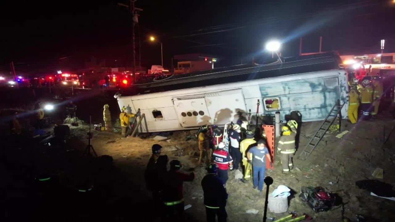 Footage shows fatal bus crash in Mexico which killed seven people and injured dozens more