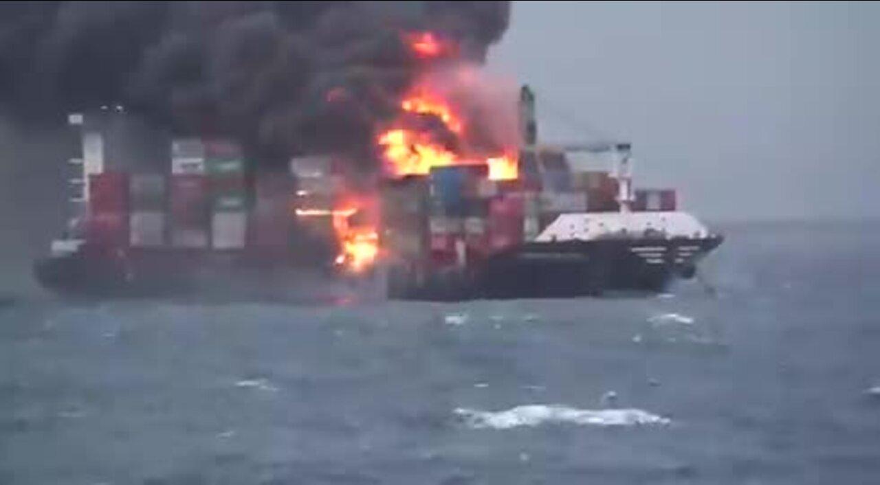 Massive cargo ship catches on fire in Sri Lanka