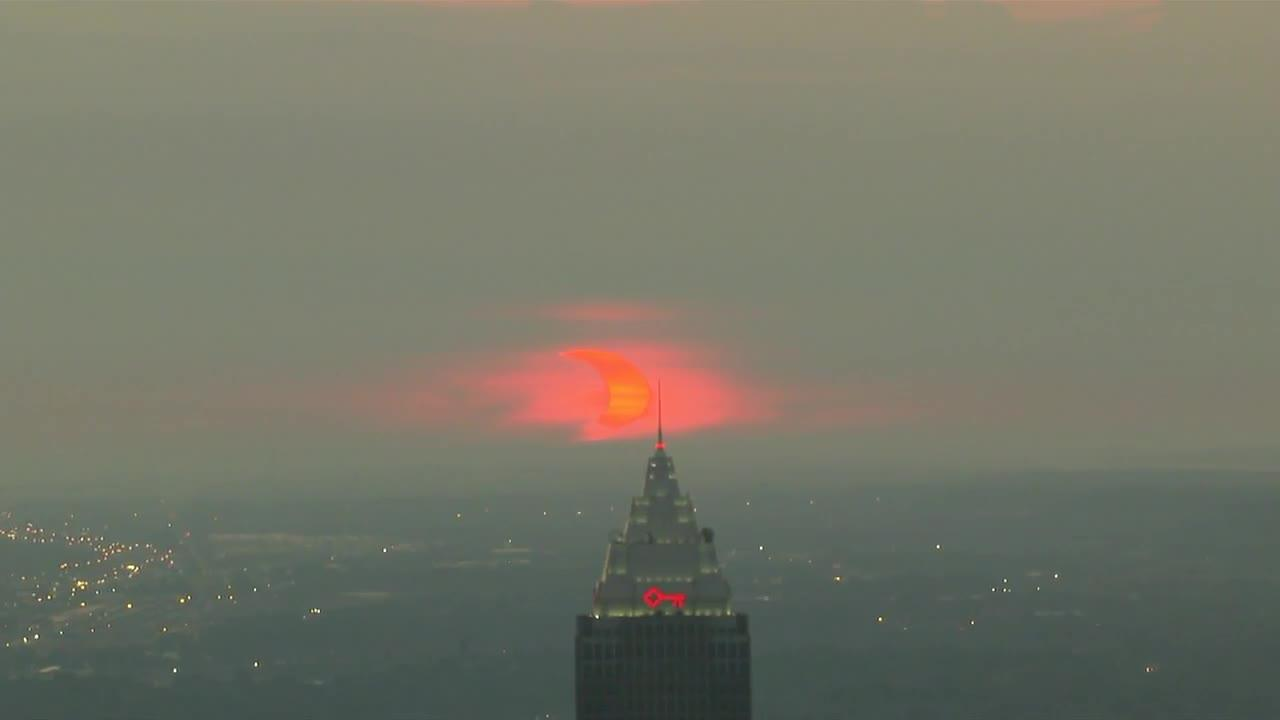 WATCH: Incredible view of the partial solar eclipse rising over Cleveland