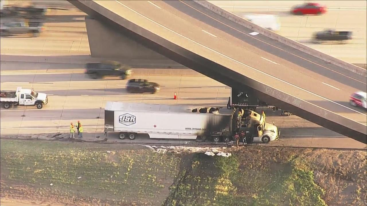 Overnight Semi Truck Fire Leads To I-70 Lane Closures In Denver Area, Big Cleanup Effort