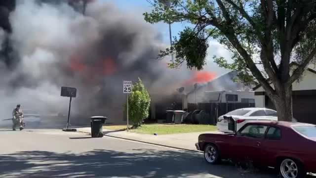 Raw: Crews Battling Modesto Duplex Fire