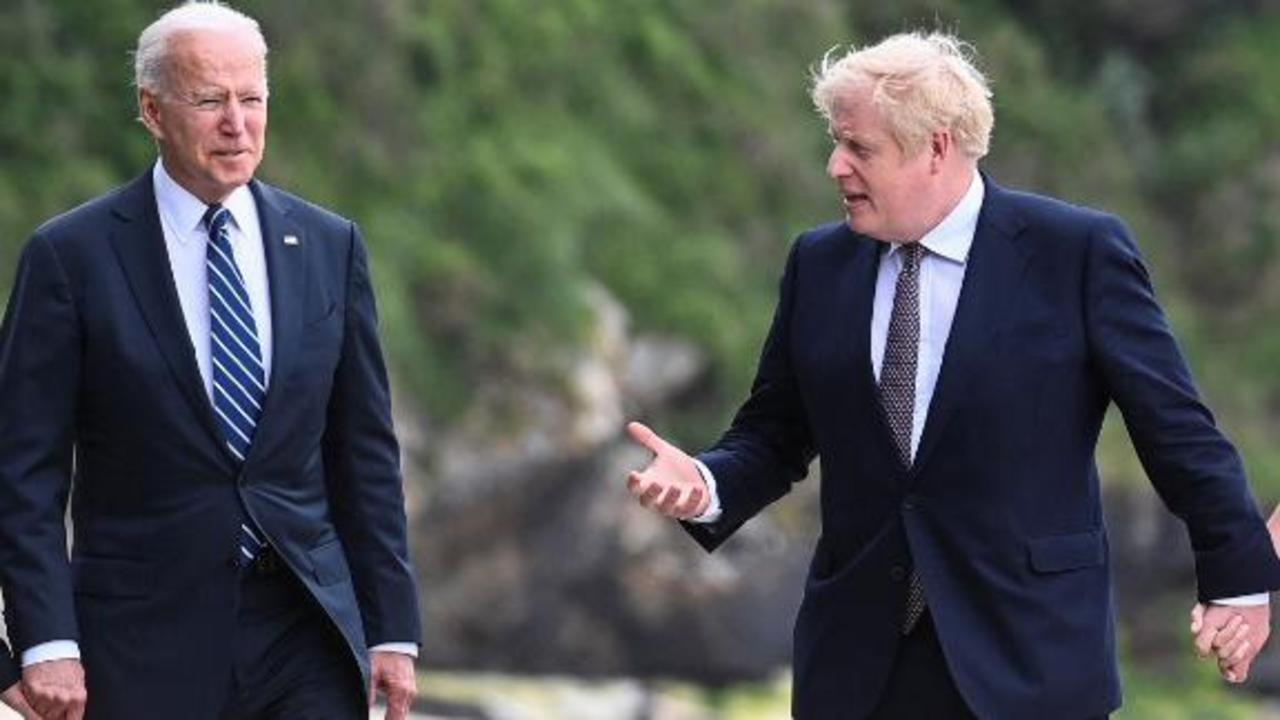 Biden greeted by British Prime Minister Boris Johnson