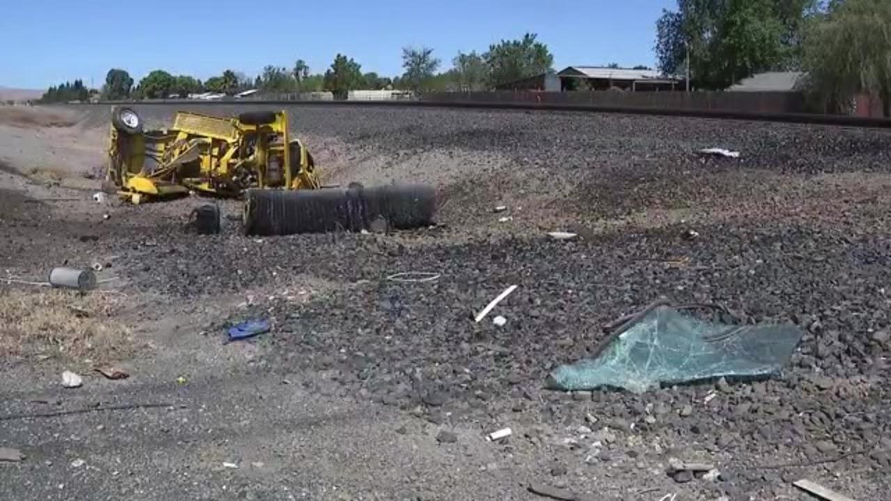 California man driving street sweeper killed in collision with train