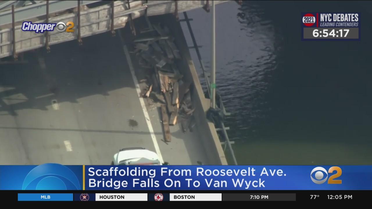 Scaffolding From Roosevelt Ave. Bridge Falls On Van Wyck Expressway