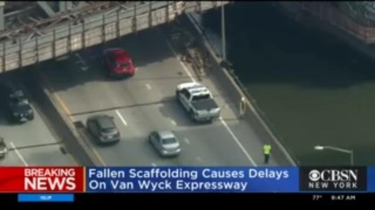 Falling Scaffolding Causes Delays On Van Wyck Expressway