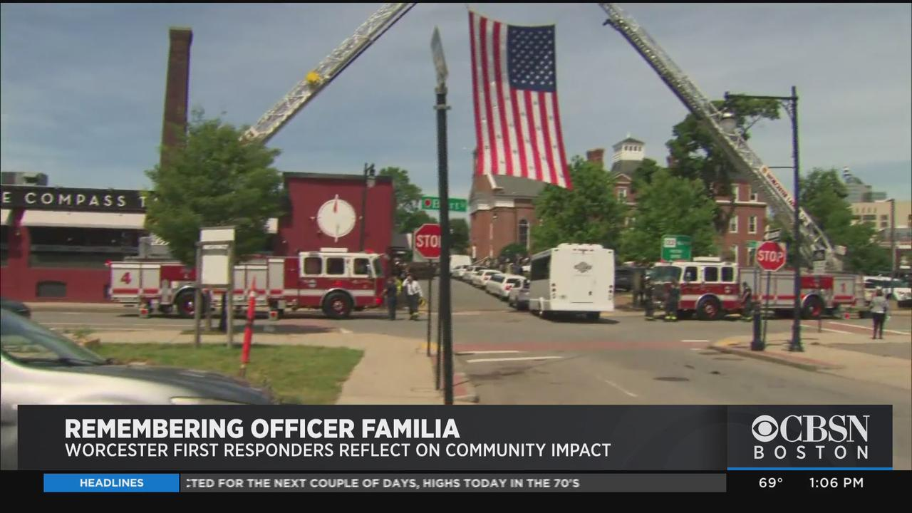 Members Of Community Pay Tribute To Worcester Police Officer Manny Familia