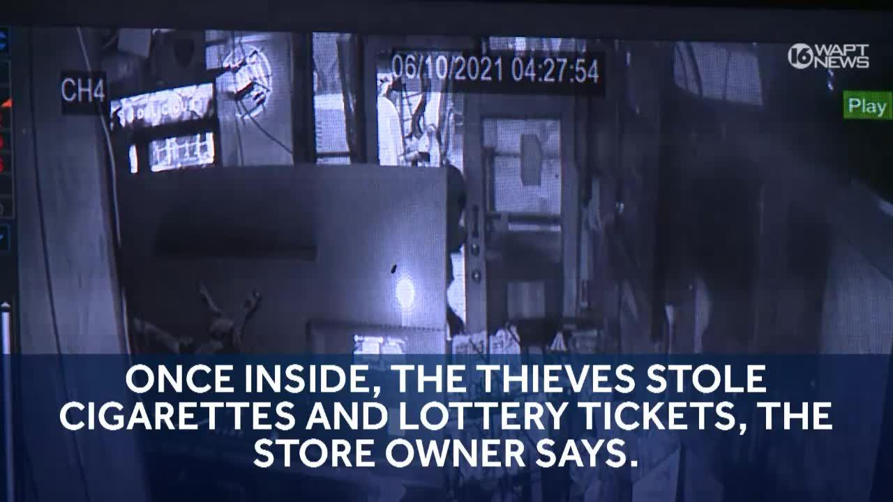 Surveillance video shows thieves using backhoe to break into store