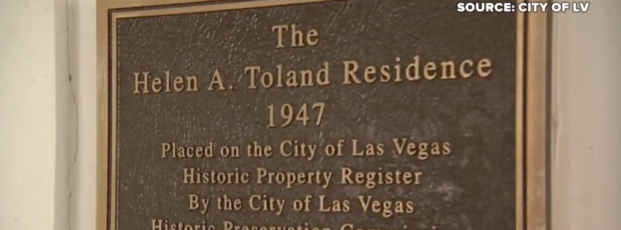 Helen Toland's Las Vegas home to be recognized as historic property